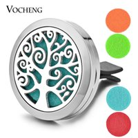 Wholesale Cars Slide - Car Perfume Diffuser Locket Car Air Vent Clip 316L Stainless Steel Pendant Tree of Life Magnetic without Felt Pads VA-310