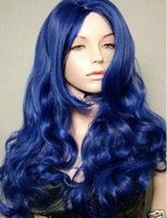Nova cosplay Fashion Long Curly Dark Blue peruca