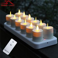 Wholesale 12 Led Rechargeable Candles - Luminara Rechargeable Flameless LED Tealight Candles Flickering Amber Yellow Mood Light Tea Lights with Remote & Timer 12 Pack per set