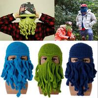 маска с осьминогами оптовых-Осьминог вязаные лыжные шапочки маска для лица вязать шляпу кальмара Шапочка смешные щупальца осьминог шляпы OOA2913