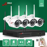 Wholesale Home Video Surveillance Systems Wireless - NEW ANRAN P2P Plug Play P2P 4CH HD Wifi NVR 720P Outdoor Day Night Network Home Video Surveillance System Security IP Wireless Camera Kits