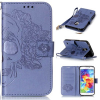 Wholesale Leather S3mini Case - Luxury Embossed Butterfly Style Flip PU Leather Stand Wallet Case Cover for Samsung Galaxy S3 S4 S5 S3MINI S4MINI S5MINI I9082 I9060