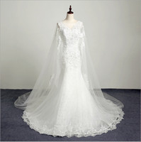 Wholesale High Neck Wedding Lace Cape - 2017 New Arrival Sexy Mermaid Wedding Dresses With Long Cape Beading Lace Appliques Lace Up Bridal Formal Gowns Court Train High Quality