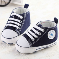 Wholesale Infant Fabrics - Baby First Walkers Shoes Canvas Shoes Infant Casual Lace-UP Sport Solid Spring And Autumn Baby Shoes