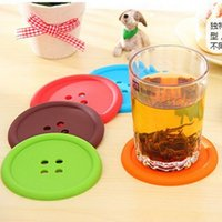 Wholesale Chinese Glass Mug - Wholesale- 1XSilicone Coffee Placemat Button Coaster Cup Mug Glass Beverage Holder Pad Mat Free Shipping