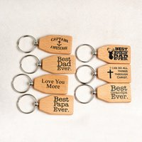 Wholesale Wooden Words Wholesale - Fashion Wood Family English Letters Wooden Keychains Best papa Dad Grandpa Ever Words Keyrings Father Gifts