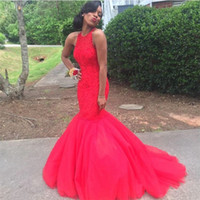 Wholesale Blue Acrylic Flower Brooch - Sexy Long Mermaid Prom Dresses Red African Black Girl Prom 2K17 Cheap Formal Dress Evening Wear Party Gowns