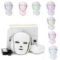 Wholesale face ems - 7 Color LED Facial Neck Mask EMS Microelectronics LED Photon Mask Wrinkle Removal Skin Rejuvenation For Face and Neck Beauty