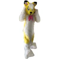 raposa mascote trajes venda por atacado-Cão de raposa amarela Husky Mascot Costume Personagem de Banda Desenhada Adulto Tamanho de alta qualidade Longteng (TM) 034