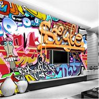 Wholesale Rock Roll Decorations - Wholesale-custom mural rock graffiti bar KTV tooling background wall photo 3d wall wallpaper decoration wall paper home decor wallpaper-3d