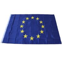 estrelas de fibra venda por atacado-Bandeira Da União Europeia 90 * 150 cm Estrela Impressão De Poliéster De Fibra De Suspensão Bandeira Decoração Do Feriado Artigos Para Azul 4 7qt C R