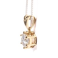 Wholesale Moissanite Yellow Gold - Queen Brilliance Solid 18K 750 Yellow Gold 1 ct F Color Lab Grown Moissanite Diamond Pendant Necklace For Women KX16081303 ccp