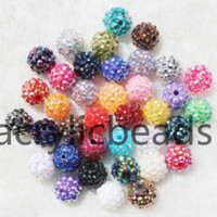 Wholesale Resin Rhinestone Paves Ball Beads - 50pcs Factory Sparkling Pearl Paved Disco Balls Resin Rhinestone Beads Round Bubblegum Crystal Diamond Spacer Beads DIY