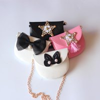 Wholesale Girls Bag Bow - 10 Style 2017 New Children INS Golden Sequins Shoulder PU Bags Girls Gold Bow Hand Messenger Metal Chain Bags wallet B001