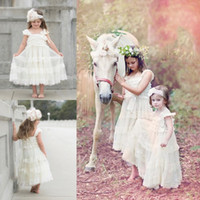 Flower Girl Dresses para Wedding Bow Applique Tiered Bateau Neck Sleeveless Girls Party Veste Ankle Length Ballant Vestidos de bola