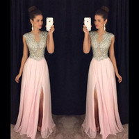 Wholesale Long Blush Chiffon Gowns - Blush Pink Beaded Evening Dresses 2017 Gorgeous Slit Cap Sleeve Long Prom Gowns Sheer Chiffon A-Line Special Occasion Party Dress