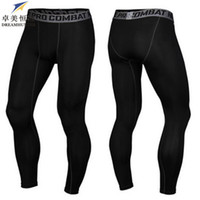 Wholesale Slim Fit Trousers Wholesale - Wholesale-High Quality 2016 Brand Cotton Men skinny Pants Slim Fit Skinny Casual Trousers Bodybuilding Fitness men Compression Active Pant