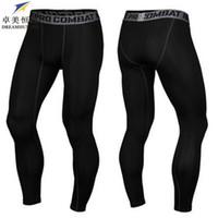 Wholesale Wholesale Slim Pants - Wholesale-High Quality 2016 Brand Cotton Men skinny Pants Slim Fit Skinny Casual Trousers Bodybuilding Fitness men Compression Active Pant