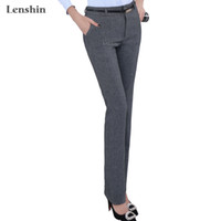 Wholesale Dark Grey Work Pants - new fashion Mid waist belt loop pants without belt for women office OL style work wear straight trousers female clothings