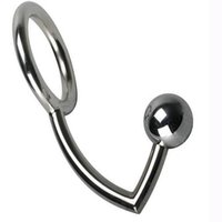 Wholesale adult male anal hook - metal anal sex toys and penis ring combination cock rings adult games anus toys for fun free shipping