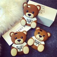 5 сотовых телефонов оптовых-3D милый мультфильм коричневый медведь мягкий ТПУ Силиконовый резиновый чехол для iPhone 6 6 S 7/6 Plus 7Plus / 5s 5 SE сотовый телефон сумки крышка