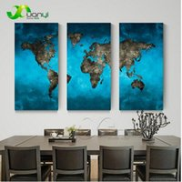 Wholesale World Oil Canvas Panel - 3 Panel World Map Oil Canvas Painting Cuadros Home Decoration Wall Art Picture For Living Room Modern Print Unframed