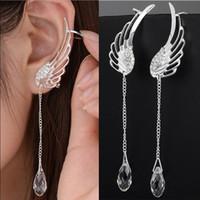 Wholesale Dangling Crystal Ear Cuffs - 925 Sterling Silver Angel Wing Stylist Crystal Earrings Drop Dangle Ear Stud For Women Long Cuff Earring