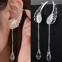 925 Sterling Silver Ángel Wing Stylist Crystal Pendientes Drop Dangle Ear Stud Para Mujeres Long Cuff Earring