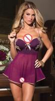 Wholesale Lenceria Sexy Mujer - New Sexy Lingerie Plus Size Erotic Dress Underwear Women Sexy Sleepwear Purple Baby Doll Pijamas Lenceria Sexi Para Mujer