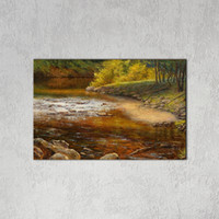 Wholesale Canvas Paint Autumn - 1 PCS Modern Wall Art Picture Country Landscape Canvas Painting Autumn Spray Print Decorations for Living Room