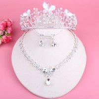 ingrosso set di perle fatti a mano-Shiny Pearls Strass Wedding Jewelry Set 2017 Donne Collana Crown Diademi Crown Headwear Bordare Hand Made Bridal Accessories Orecchini