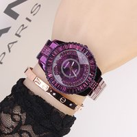 Top Quality Brand Mulheres Rhinestone Relógios Lady Shining Rotação Dress Watch Big Diamond Stone Relógio de pulso Lady Purple Watch