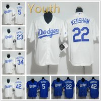 Wholesale Youth Los Angeles Dodgers Jersey Corey Seager Clayton Kershaw Adrian Gonzalez Jackie Robinson Baseball Jerseys White blue