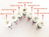 Wholesale Glass Bulb Vaporizer - Dual Wax Coil Quartz Ceramic Cotton Coil For Wax Vaporizer Pens Glass Globe Bulb Wax Vape Pen Coil donut Dry Herb Vaporizer Vhit Skillet