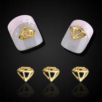 Wholesale Glitter Diamond Nail Designs - Wholesale- 10pcs Glitter Hollow Gold Alloy Diamond Design 3d Nali Jewelry For NaiL Art Decorations Nails Tools Free Shipping