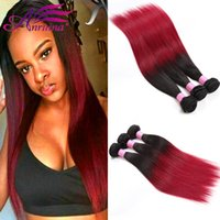 Ombre Brazilian Straight Bundles 1B BG Ensemble de cheveux humains Two Tone Brazilian Virgin Human Hair Colored 3PCS / Lot
