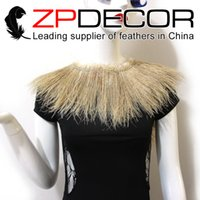 Wholesale Ivory Peacock - ZPDECOR Wholesale 1yard bag 15-20cm(6-8 inch)Dyed Ivory Peacock Feather Strung for Carnival Costume Decoration