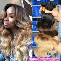 Ombre Human Hair Extensions Virgin Brazilian Peruvian Malaysian Indian Body Wave 3 Three Tone Brown Blonde 1B 4 27 # Ombre Hair Weave 3pcs