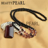 Wholesale 6mm Round Crystal Beads - Round 6mm Smooth Black Agate Beads with Crystal Pendant Necklace Garnet Chip Beads Handmade Jewelry for Ladies