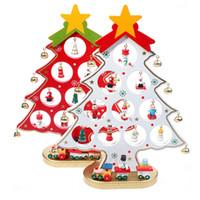 cartoon wooden artificial christmas tree decorations ornaments wood mini xmas christmas trees gift ornament table party decoration - Red Artificial Christmas Tree