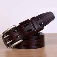 Wholesale Cow Pin - Wholesale- Men Double Pin Buckle Wide Belts Cow Leather High Quality Mens Casual Brown Belt Luxury Brand Strap For Jeans Cinto Masculino