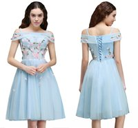 Wholesale Pretty Pictures Flowers - Pretty Light Sky Blue Off Shoulder 2017 Homecoming Dresses Short Sleeves Tulle A Line Flowers Graduation Dresses Mini Dresses CPS661