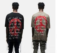 Wholesale Oversized Shirts Men - Top quality thin Slub cotton streetwear World Peace Freedom kanye west oversized T-shirts dropping shoulders hip hop clothing