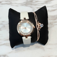 black jewelry roll - 2017 Fashion lady leather watch with rolling diamond Stainless Steel Rose gold Bracelet women Wristwatches Brand female clock gold silver