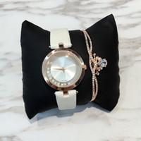 lederarmbänder diamanten großhandel-2017 Fashion Lady Leder Uhr mit rollenden Diamanten Edelstahl Rose Gold Armband Frauen Armbanduhren Marke weibliche Uhr Gold Silber