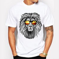 Wholesale custom printed glasses - 2018 Newest Fashion The King Lion Wear Glasses Printed T-Shirt Men's Summer Cool Design Tops Funny Custom Hipster Tees