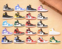 Wholesale Pendant Souvenir - 200pcs New Hot AJ Shoes Keychains PVC Soft Basketball Car Keychain 1-16 Generation Fan Souvenirs Bag Pendant 6*3.5CM DHL Freeshipping