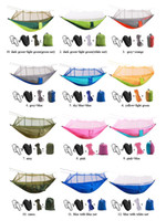 Wholesale Hammock Single - 260*140CM Portable Hammock With Mosquito Net Single-person Hammock Hanging Bed Folded Into The Pouch For Travel Camping Hiking
