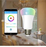 Wholesale control light iphone - Wifi LED Bulb RGB E27 8W LED Dimmable Bulb Lamp OEM Remote Control Spot Light For IOS iPhone Android Phones APP C2643