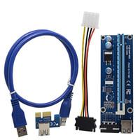 ltc miner großhandel-Freeshipping 100PCS 0.6M PCI-E Adapterkarte PCIe 1x bis 16x Extender mit USB 3.0 Datenkabel / Molex Netzteil für BTC LTC ETH Miner